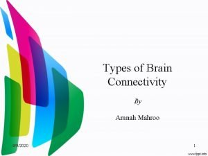 Types of Brain Connectivity By Amnah Mahroo 992020