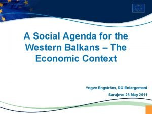 A Social Agenda for the Western Balkans The