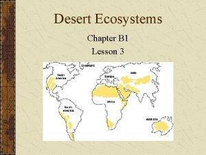 Desert Ecosystems Chapter B 1 Lesson 3 Desert