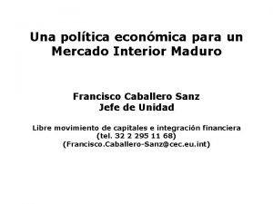 Una poltica econmica para un Mercado Interior Maduro