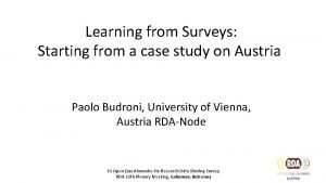 Learning from Surveys Starting from a case study