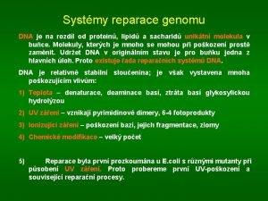 Systmy reparace genomu DNA je na rozdl od