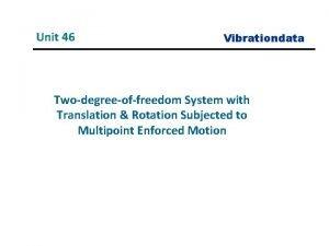 Unit 46 Vibrationdata Twodegreeoffreedom System with Translation Rotation