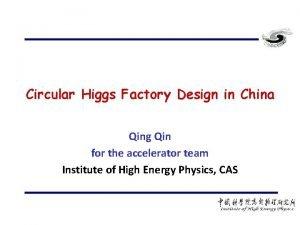 Circular Higgs Factory Design in China Qing Qin