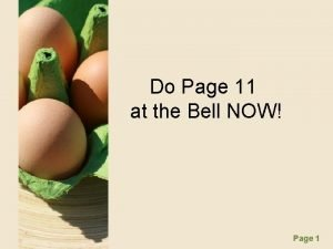 Do Page 11 at the Bell NOW Page