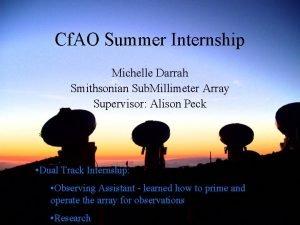 Cf AO Summer Internship Michelle Darrah Smithsonian Sub