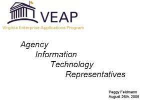 Agency Information Technology Representatives Peggy Feldmann August 26