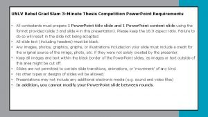 UNLV Rebel Grad Slam 3 Minute Thesis Competition