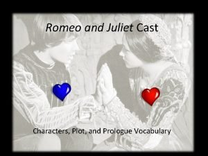 Romeo and Juliet Cast Characters Plot and Prologue