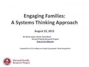 Engaging Families A Systems Thinking Approach August 23