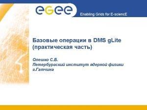 Enabling Grids for Escienc E printenv grep LCGLOCATIONoptlcg