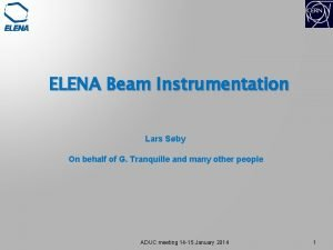 ELENA Beam Instrumentation Lars Sby On behalf of