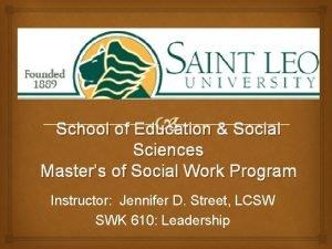 School of Education Social Sciences Masters of Social