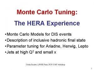 Monte Carlo Tuning The HERA Experience Monte Carlo