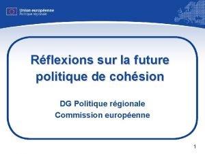 Rflexions sur la future politique de cohsion DG