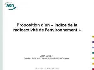 Proposition dun indice de la radioactivit de lenvironnement