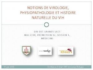 NOTIONS DE VIROLOGIE PHYSIOPATHOLOGIE ET HISTOIRE NATURELLE DU