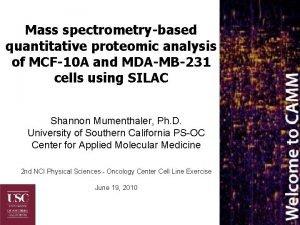 Mass spectrometrybased quantitative proteomic analysis of MCF10 A
