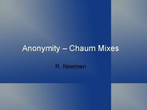 Anonymity Chaum Mixes R Newman Topics Defining anonymity