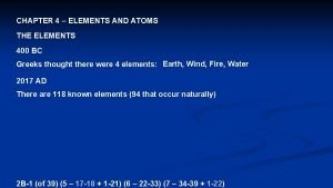 CHAPTER 4 ELEMENTS AND ATOMS THE ELEMENTS 400