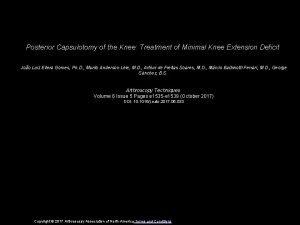 Posterior Capsulotomy of the Knee Treatment of Minimal