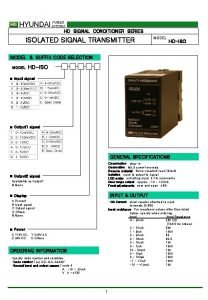 HD SIGNAL CONDITIONER SERIES ISOLATED SIGNAL TRANSMITTER MODEL
