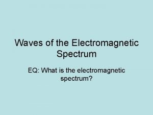 Waves of the Electromagnetic Spectrum EQ What is