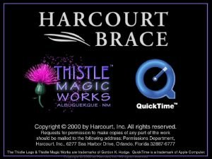 Copyright 2000 by Harcourt Inc All rights reserved