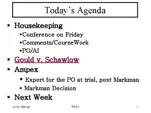 Todays Agenda Housekeeping Conference on Friday CommentsCourse Work