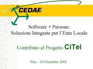 Software Persone Soluzioni Integrate per lEnte Locale Contributo