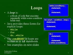 Loops A loop is a block of code