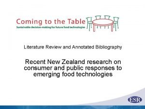 Literature Review and Annotated Bibliography Recent New Zealand