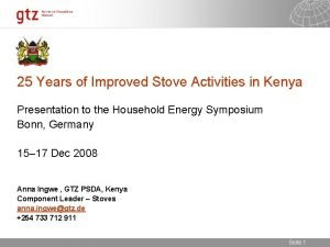 25 Years of Improved Stove Activities in Kenya