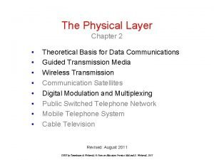 The Physical Layer Chapter 2 Theoretical Basis for