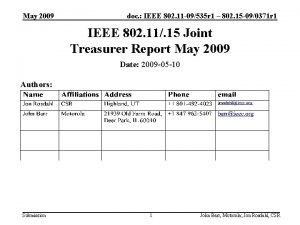 May 2009 doc IEEE 802 11 09535 r