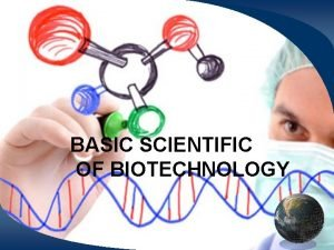 BASIC SCIENTIFIC OF BIOTECHNOLOGY What Is Biotechnology and