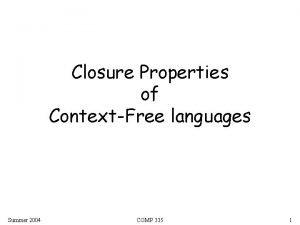 Closure Properties of ContextFree languages Summer 2004 COMP