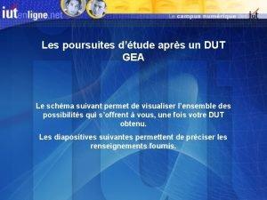 Les poursuites dtude aprs un DUT GEA Le