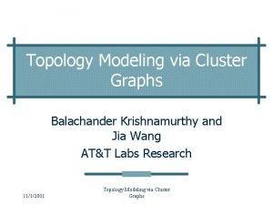 Topology Modeling via Cluster Graphs Balachander Krishnamurthy and