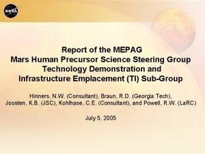 Report of the MEPAG Mars Human Precursor Science