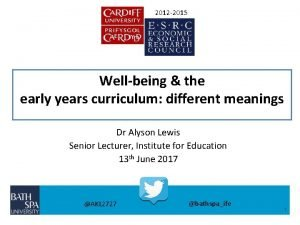2012 2015 Wellbeing the early years curriculum different