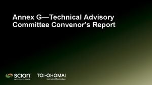 Annex GTechnical Advisory Committee Convenors Report Technical Advisory
