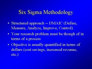 Six Sigma Methodology Structured approach DMAIC Define Measure