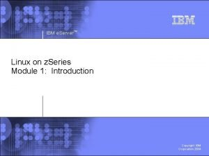 IBM e Server Linux on z Series Module