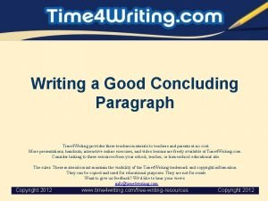 Writing a Good Concluding Paragraph Time 4 Writing