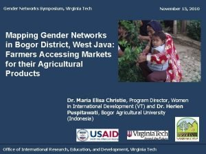 Gender Networks Symposium Virginia Tech November 15 2010