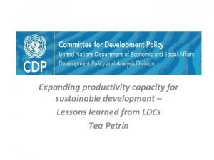 Expanding productivity capacity for sustainable development Lessons learned