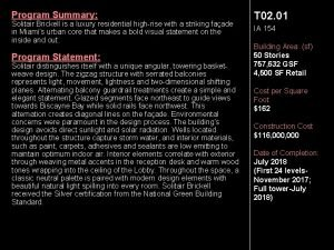 Program Summary Solitair Brickell is a luxury residential