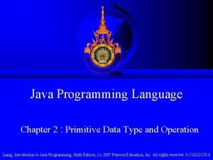 Java Programming Language Chapter 2 Primitive Data Type