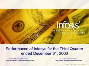 Performance of Infosys for the Third Quarter ended